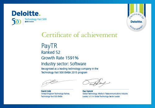 EMEA Bölgesi'nde en hızlı büyüyen 52. teknoloji şirketi olduk!