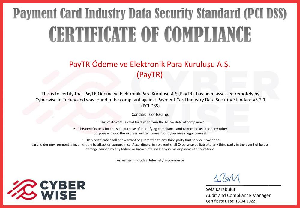 PCI-DSS kapsamındaki sorumluluklarımızı tümüyle ve sürekli olarak yerine getşrşyoruz.